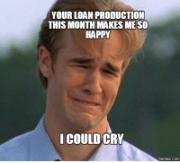 cry: YOUR LOAN PRODUCTION  THIS MONTH MAKES MESO  HAPPY  COULD CRY  memes.com