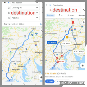 Google Maps - adding an additional stop decreases the overall travel time and mileage?: Your location  Your location  A)  Leesburg, VA  destination  destination  B  =  ofo 1 day  E5 hr 41  4 days  Add stop  Do  Total trip: 5 hr 25 min (288 mi)  84  Scrapton  380.  476  PENNSYLVANIA  380  476  Allentown  C  ENNSYLVANIA  476  Hershey  Allentown  5 hr 41 min  6 hr 6 min  Philadelphia  Hershey  Harrisburgo  Lancaster  6 hr 4 mino  81  Philadelph  MARYLAND  O  70  York  Atla  95  NE  66  MARYLAND  DELAWARE  +12 min  70  C  Baltimore  Ocean Ch  Washington  DELAWARE  5 hr 41 min (289 mi)  Fastest route, despite the usual traffic  20 mi  50 km ou  A Start  ESteps & more  PIC COLLAGE Google Maps - adding an additional stop decreases the overall travel time and mileage?