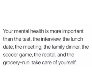 The Test: Your mental health is more important  than the test, the interview, the lunch  date, the meeting, the family dinner, the  soccer game, the recital, and the  grocery-run. take care of yourself.