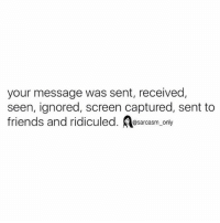 Friends, Funny, and Memes: your message was sent, received,  seen, ignored, screen captured, sent to  friends and ridiculed. sarcasm only ⠀