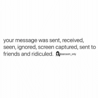 Friends, Funny, and Memes: your message was sent, received,  seen, ignored, screen captured, sent to  friends and ridiculed. sarcasm_only SarcasmOnly