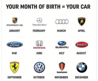 Honda, Memes, and Mercedes: YOUR MONTH OF BIRTH = YOUR CAR  CLEO  Mercedes-Benz  JANUARY  FEBRUARY  MARCH  APRIL  BUGATTI  HONDA  SUBARU  MAY  JUNE  JULY  AUGUST  Koenigsegg  SEPTEMBER  OCTOBER  NOVEMBER  DECEMBER Which one? 🤔👇 WSHH