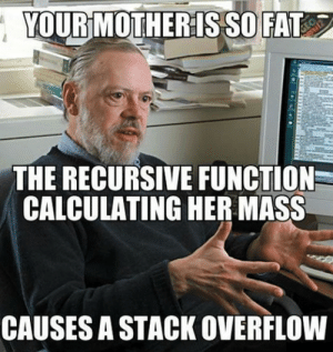 Fat, Her, and Mother: YOUR MOTHER IS SO FAT  THE RECURSIVE FUNCTION  CALCULATING HER MASS  CAUSES A STACK OVERFLOW long long int mass