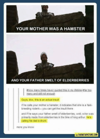 Arthur, Dad, and Drunk: YOUR MOTHER WAS A HAMSTER  AND YOUR FATHER SMELT OF ELDERBERRIES  thow many times have l quoted this in my lifetime #fartoo  Guys, btw, this is an actual insult  if he calls your mother a hamster, it indicates that she is a fast-  breeding rodent-you can get the insult there  and if he says your father smelt of elderberries, wel wine was  primarily made from elderberries in the time of king arthur. he's  caling his dad a drunk  more you know  VIA THEMETAPICTURECOM