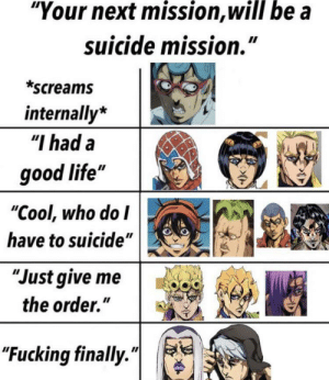 """Fucking, Life, and Cool: """"Your next mission, will be a  suicide mission.""""  *screams  internally*  """"I had a  good life""""  """"Cool, who do I  have to suicide""""  """"Just give me  the order.""""  """"Fucking finally.""""