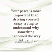 Crazy, Driving, and Memes: Your peace is more  important than  driving yourself  crazy trying to  understand why  something  happened the way  it did. Let it go  Mandy Hale l Awake Spiritual @house.of.leaders 👈😊 awakespiritual letgo