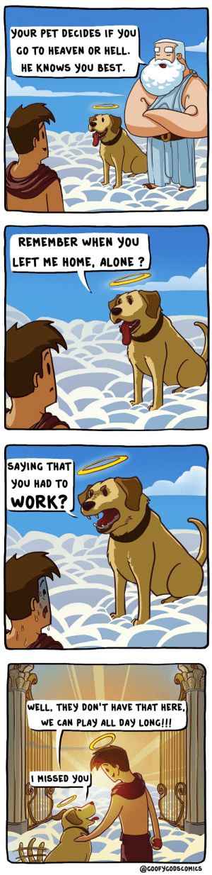 catchymemes:  IG: @goofygodscomics: YOUR PET DECIDES IF YOU  GO TO HEAVEN OR HELL.  HE KNOWS YOU BEST.   REMEMBER WHEN YOU  LEFT ME HOME, ALONE ?   SAYING THAT  YOU HAD TO  WORK?   WELL, THEY DON'T HAVE THAT HERE,  WE CAN PLAY ALL DAY LONG!!!  I MISSED YOU  @GOOFYGODSCOMICS catchymemes:  IG: @goofygodscomics