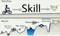 brain dead: YOUR PLAN  Skill  Brain dead  REALITY  Teammates  Hanzo  ers  Bad Team  No mics  Comp