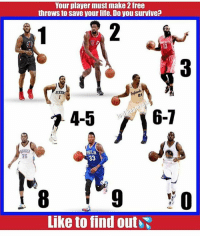 Do you survive? 👀: Your player must make 2 free  throws to save your life. Do you survive?  SIXERS  45 r 16-7  HILA  33  Like to find outi Do you survive? 👀