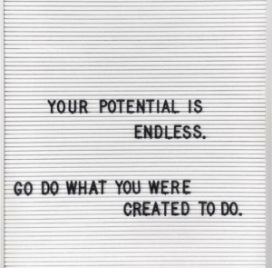 Go Do: YOUR POTENTIAL IS  ENDLESS  GO DO WHAT YOU WERE  CREATED TO DO.
