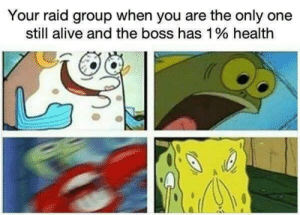 still alive: Your raid group when you are the only one  still alive and the boss has 1% health