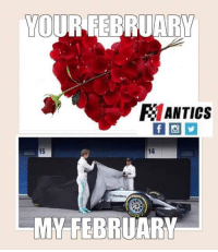 18 years in a row this year of having no Valentine's date, and once again I'm loving the new F1 cars and old F1 stuff instead of a girl 😂  #ChamF1B: YOUR RE  RANTICs  14  MY FEBRUARY 18 years in a row this year of having no Valentine's date, and once again I'm loving the new F1 cars and old F1 stuff instead of a girl 😂  #ChamF1B
