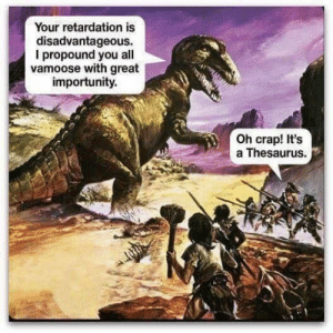 MeIRL, Thesaurus, and All: Your retardation is  disadvantageous.  I propound you all  vamoose with great  importunity.  Oh crap! It's  a Thesaurus. Meirl