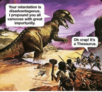 Instagram, Thesaurus, and All: Your retardation is  disadvantageous.  l propound you all  vamoose with great  importunity.  Oh crap! It's  a Thesaurus. Instagram: @punsonly