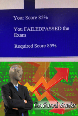 I am confusion by SomeRedditerOnline MORE MEMES: Your Score 85%  You FAILEDPASSED the  Exam  Required Score 85%  23. 90  15. 8  5. 3  7. 34  . 89  45  12. 3% A 13.3  254.23  56  100. 08  54.22  120, 000  34% A  220.g00  97%  120/000  388.0  23  98  120, E  320,  250  Confused stonks  12  60  432. I am confusion by SomeRedditerOnline MORE MEMES
