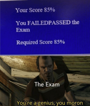 Genius: Your Score 85%  You FAILEDPASSED the  Exam  Required Score 85%  The Exam  You're a genius, you moron