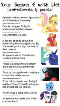 "80s, Memes, and Prince: Your Season 4 wish List  (semi-believable, if possible  Episode that focuses on Applejack  and Fluttershy's friendship  One focusing on Twilight's  relationship with her parents  Big Macintosh episode  A special episode about loss,  illuminating how Applejack and Big  Macintosh got through the loss of  their parents  An episode about Celestia and  Luna's personal lives  Prince Blueblood tries to reform  and become a true gentleman  Tartarus has a jailbreak-- maybe a  classic 80s villain returns  Trixie returns again, and Twilight  must convince Ponyville to forgive  her and let her live in town  Rarity sings a song with Octavia  An episode that ends with ""Dear  princess Luna"" Not a bad list for season 4 ! What are you guys wishing for in season 4 ?
