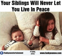 Memes, 🤖, and Entertainment: Your Siblings Will Never Let  You Live In Peace  Of FUNK  www.funkyounow.com  /funkyou entertainment  YOU
