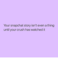 Snapchat: Your snapchat story isn't even a thing  until your crush has watched it