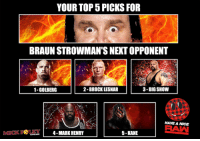After Braun Strowman's vague threats about there not being a next week unless I got him some competition, I asked all of you to tell me who should be next for Braun Stroman. Based on over 2000 responses, here are your top five answers!: YOUR TOP PICKS FOR  BRAUN STROWMAN'S NEXTOPPONENT  2-BROCK LESNAR  3-BIG SHOW  1-GOLBERG  HAVE A NICE  5-KANE  4-MARK HENRY After Braun Strowman's vague threats about there not being a next week unless I got him some competition, I asked all of you to tell me who should be next for Braun Stroman. Based on over 2000 responses, here are your top five answers!