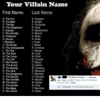 "Dank, 🤖, and Villains: Your Villain Name  First Name  Last Name:  A- The Evil  A- Shadow  B- The Mad  B- Knight  C- Tarantula  C- The Big  D- Skull  D- The Dangerous  E- Mastermind  E-Captain  F- The Ghostly  F- Wizard  G- Professor  G- Ninja  H- Doctor  H- Devil  I- Phantom  Freak  J- The Brutal  J- Beast  K- The Unstoppable  K  The Criminal  L- Master  M- The Dark  M- Lord  N- Child  N- The Crazy  O- The Iron  O- Corpse  P- Slayer  P- The Poison  Q- The Brutal  Q- Spider  R- The Bloody  R- Creature  S- The Dark  S- Werewolf  T- The Dangerous  T- Monster  U- The Rancid  U- Vampire  wu K ""The Black Criminal  Not cool  V- The Invisible  V- Mutant  Like Reply 154 Friday, March 14 at 9:36pm  W- The Black  W- Robot  Reply  X- Claw  X- The Atomic  R 13 Replies 9:14am (36 minutes ago)  Y- The Mega  Y- Machine  Z- The Grand  Z- Clown Mmmmh.."