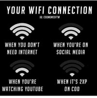 Click, Destiny, and Halo: YOUR WIFI CONNECTION  IG: COOMEMESFTW  WHEN YOU DON'T  NEED INTERNET  WHEN YOU'RE ON  SOCIAL MEDIA  WHEN YOU'RE  WATCHING YOUTUBE  WHEN IT'S 2XP  ON COD CLICK THAT LIKE BUTTON!❤ Follow @gamiing.memes (me) for more content!👍 - Via: @codmemesftw - Partners 🔥@gamiing.revelation 💪@get.noscoped 😎@cod.place 🤓@jaxramse 💯@official.gaming.memes - Use GAMIINGMEMES 👍😎 - ❌Tags (ignore)❌ callofduty battlefield halo xbox battlefield1 cod mwr iw gamingmemes battlefield playstation ps4 gaming pc overwatch destiny memes instagram videogames blackops2 rainbowsixsiege pcgaming xboxone codmemes gta gtav csgo