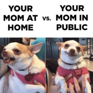 Home, Mom, and Mother: YOUR  YOUR  MOM AT vs. MOM IN  HOME  PUBLIC Fits perfectly for a mother