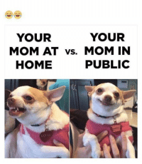 Funny, Lily, and Lily Lu: YOUR  YOUR  MOM AT vs. MOM IN  PUBLIC  HOME  LILY LU