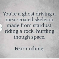 Driving, Ghost, and Space: You're a ghost driving a  meat-coated skeleton  made from stardust  riding a rock, hurtling  though space.  Fear nothing