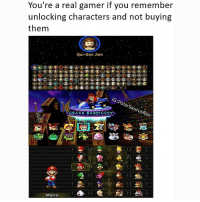 Name all three games 😎 Follow me for more! (@PolarSaurusRex): You're a real gamer if you remember  You're unlocking characters and not buying  them  Qui-Gon Jinn  ars  LISA  RASH BAND COOT.  Mario Name all three games 😎 Follow me for more! (@PolarSaurusRex)