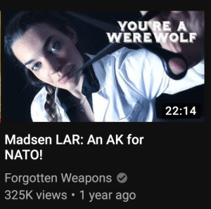 Nato, Werewolf, and Weapons: YOURE A  WEREWOLF  22:14  Madsen LAR: An AK for  NATO!  Forgotten Weapons  325K views 1 year ago umm, so do werewolves like the Madsen LAR?
