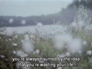 Life, Idea, and Haunted: you're always haunted by the idea  that you're wasting your life