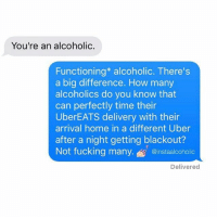Uber, Home, and Resume: You're an alcoholic.  Functioning* alcoholic. There's  a big difference. How many  alcoholics do you know that  can perfectly time their  UberEATS delivery with their  arrival home in a different Uber  after a night getting blackout?  @instaalcoholic  Delivered How can I word this skill on my resume? @instaalcoholic