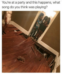 Funny, Party, and Song: You're at a party and this happens, what  song do you think was playing? Had to be fireflies 😬