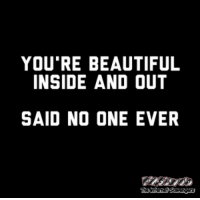 <p>Sarcastic memes and pics  Sardonic chuckles  PMSLweb </p>: YOU'RE BEAUTIFUL  INSIDE AND OUT  SAID NO ONE EVER <p>Sarcastic memes and pics  Sardonic chuckles  PMSLweb </p>