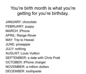Birthday, Chris Pratt, and Iphone: You're birth month is what you're  getting for you're birthday.  JANUARY: chocolate  FEBRUARY: puppy  MARCH: iPhone  APRIL: Range Rover  MAY: Trip to Hawaii  JUNE: pineapple  JULY: nothing  AUGUST: Louis Vuitton  SEPTEMBER: a date with Chris Pratt  OCTOBER: iPhone charger  NOVEMBER: a million dollars  DECEMBER: toothpaste Better be some damn good chocolate 🍫