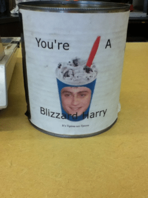 ermathursty:  saw this tip jar at my Dairy Queen today and lost it at tipiosa : You're  Blizzard Harry  It's Tipiosa not Tipiosa ermathursty:  saw this tip jar at my Dairy Queen today and lost it at tipiosa