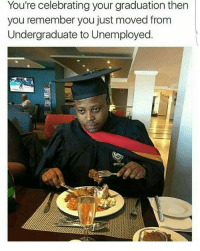 Blackpeopletwitter, Via, and Remember: You're celebrating your graduation then  you remember you just moved from  Undergraduate to Unemployed <p>Undergraduate to Unemployed transition (via /r/BlackPeopleTwitter)</p>