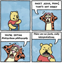 Pooh Thats Not Honey: YOU'RE EATING  Nietzschean phieosophy  SWEET JESUS, POOH  THAT'S NOT HONEY  There are no facts, oney  interpretations.