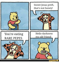 Hello Darkness, My Old Friend: You're eating  RARE PEPES  Sweet Jesus pooh,  that's not honey!  Hello darkness  my old friend  funny CEO