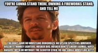 America, Memes, and Scooter: YOU'RE GONNA STAND THERE, OWNING A FIREWORKS STAND  AND TELL MIE  OU DONT HAVE NO WHISTLING BUNGHOLES NO SPLEEN SPLITTERS, WHISKER  BISCUITS,HONKEY LIGHTERS, HUSKER DOS, HUSKER DONTS CHERRY BOMBS NIPSY  DAISERS, WITH OR WITHOUT THE SCOOTER STICK, OR ONESINGLEWHISTLING KITIV merica america usa independenceday 4thofjuly
