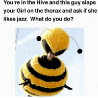 Memes, Your Girl, and 🤖: You're in the Hive and this guy slaps  your Girl on the thorax and ask if she  likes jazz. What do you do? that's his queen now
