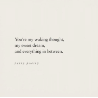 sweet dream: You're my waking thought  my sweet dream,  and everything in between.  perry poetry