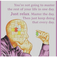 Life, Memes, and Time: You're not going to master  the rest of your life in one day.  Just relax. Master the day.  Then just keep doing  that every day. One step at a time 🙏🏻