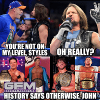 Memes, Gravity, and 🤖: YOU'RE NOT ON  MY LEVEL STYLES: OH REALY  ONLY ON  INSTAGAAM  GRAVITY FOR GOT. M E  HISTORY SAYS OTHERWISE OHN I got all the respect in the world to cena, but it's not styles who will never get on cena's level, it's cena who will never get on styles' level. Fact johncena ajstyles prowrestling wrestling wwe nxt roh pwg ringofhonor luchaunderground tna revpro wwememes memes