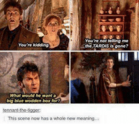 Tigger: You're not telling me  You're kidding  the TARDIS is gone?  What would he want a  big blue wodden box for?  tennant-the-tigger:  This scene now has a whole new meaning...