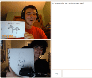 Omegle, Old, and Random: You're now chatting with a random stranger. Say hi!  Where's Jirgen?  omegle  com  Cond Bay  Stop  Esc Found fellow 9 year old on Omegle, I drew Joergen!