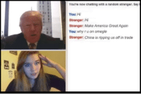 Dank, Omegle, and China: You're now chatting with a random stranger. Say  You: Hi  Stranger: Hi  Stranger: Make America Great Again  You: why ru on omegle  Stranger: China is ripping us offin trade You can't hide from him