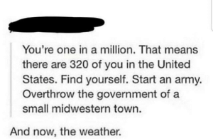 An Army: You're one in a million. That means  there are 320 of you in the United  States. Find yourself. Start an army.  Overthrow the government of a  small midwestern town.  And now, the weather.