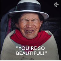 """This photo series explores how strangers react to being called beautiful.: """"YOU'RE SO  BEAUTIFUL! This photo series explores how strangers react to being called beautiful."""